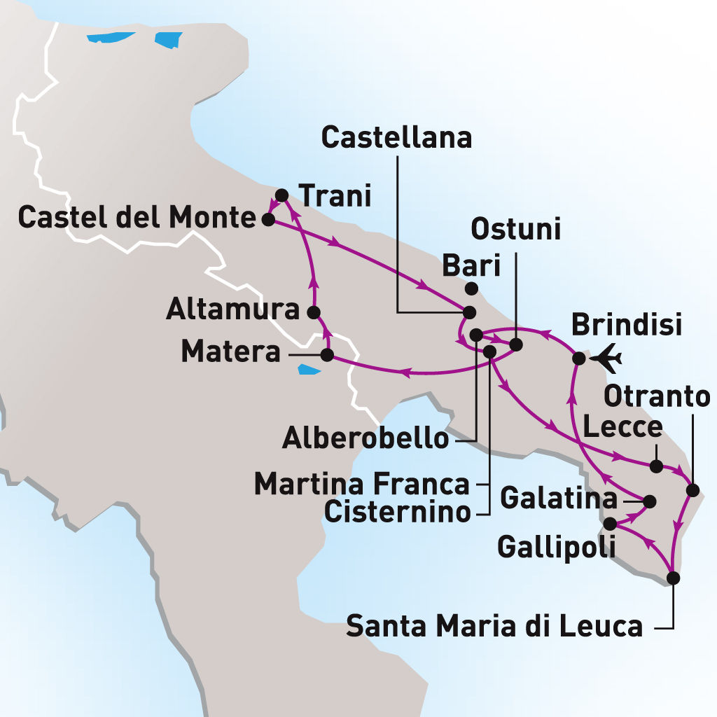 Circuit Trésors des Pouilles  Italie Les Pouilles,formule Circuits